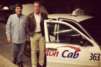 Arnold Schwarzenegger in a Hamilton Cab